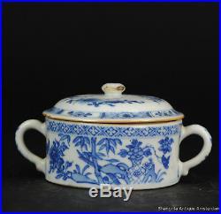Antique 18C Chinese Porcelain Blue & White China Qianlong Period Butter Jar