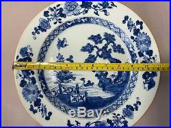 Antique 18th C Chinese Export Blue and White Porcelain Plate charger Qianlong