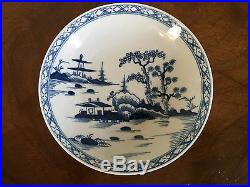 Antique 18th c. English Porcelain Tea Saucer Bowl Blue & White Chinese Worcester