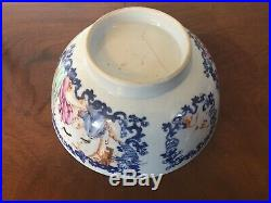 Antique 18th century Chinese Export Porcelain Punch Bowl Famille Rose Blue White