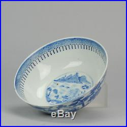 Antique 19th c Chinese Porcelain Blue & White Bowl Qing Kangxi Revival