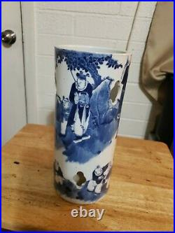 Antique 19th c. Chinese Porcelain Hat Wig Rest Stand Vase Blue & White Landscape