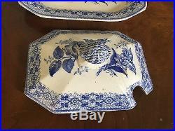 Antique 19th c. English Pottery Tureen Platter Blue & White Transferware H & Co