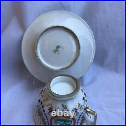Antique 19th century French Old Paris Porcelain Tea Cup Saucer Coffee Can Blue