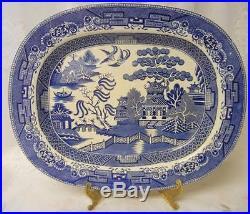 Antique BLUE WILLOW SERVING PLATTER FANTASTIC BLUE & WHITE DETAIL 19TH CENTURY