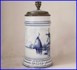 Antique Blue/White Delft Style Porcelain Beer Stein withLithophane Swaine Co c1900