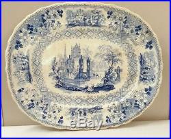 Antique Blue / White Transferware Platter Davenport England 13 x 10-3/4