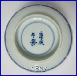 Antique CHINESE BLUE & WHITE PORCELAIN CRAB FISH BOWL SIGNED MARKED