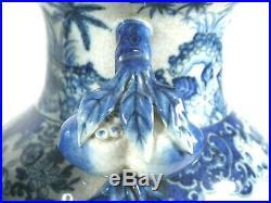 Antique Chinese 19th C. Dual Pomegranate Handle Blue White Porcelain Vases Lamps
