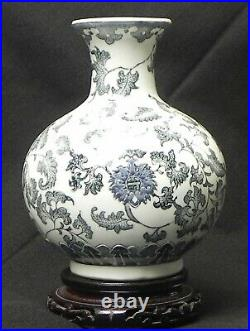 Antique Chinese Blue And White Porcelain Vase With Mark Qing Dynasty