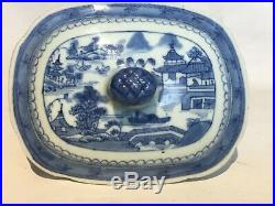 Antique Chinese Blue & White Canton Porcelain Tureen