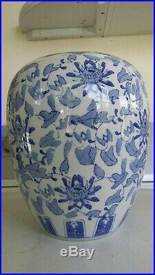 Antique Chinese Blue White Porcelain 11 Planter VASE URN Jardinere Crock