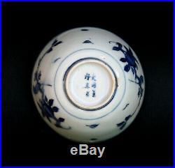 Antique Chinese Blue White Porcelain Bowl Wanli Mark & Period Birds Peaches Ming