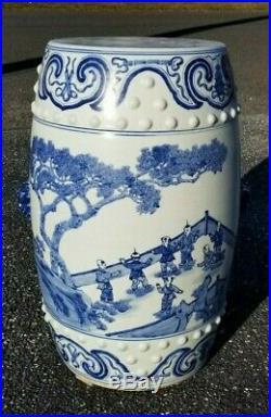 Antique Chinese Blue & White Porcelain Garden Seat Pot w Figures 19th C Qing 21