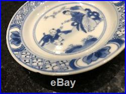 Antique Chinese Blue & White Porcelain Plate Kangxi Mark & Period