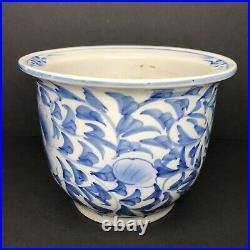 Antique Chinese Blue and White Jardiniere Planter Porcelain Pot Lotus Flower Vtg