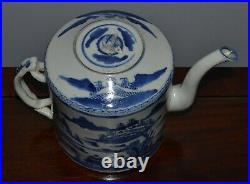 Antique Chinese Blue and White Porcelain Teapot Twist Handle Some Chips