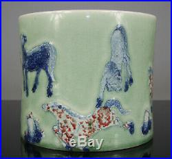 Antique Chinese Brush Pot Red Blue White Glaze Porcelain Kangxi Qing 18th