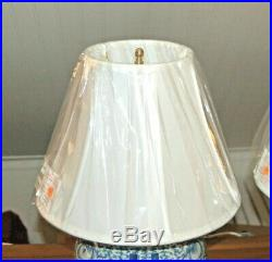Antique Chinese GINGER JAR LAMP Blue & White Porcelain Double Happiness 3-M