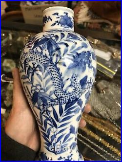 Antique Chinese Hand Painted Blue & White Dragon Pattern Porcelian Vase c1880s