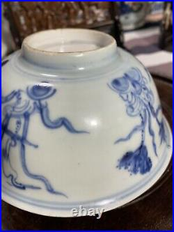 Antique Chinese Ming Blue And White Porcelain Bowl 16th C