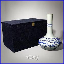 Antique Chinese Old Qing Kangxi Blue & White Porcelain Grass Leaf Dragon Vase US