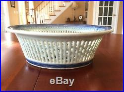 Antique Chinese Porcelain Canton Export Blue & White Reticulated Basket