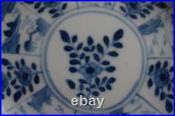 Antique Chinese Porcelain saucer in Blue & White Kangxi Mark Qing Dynasty
