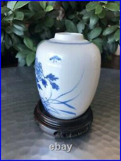 Antique Chinese Qing Blue & White Floral Ovoid Jar