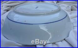 Antique Chinese Signed Rare Blue White Porcelain Bird Flower Big Deep Plate Dish