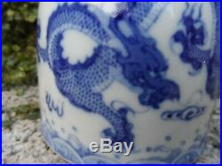 Antique Chinese blue & white water coupe with dragon 19th c Qing porcelain