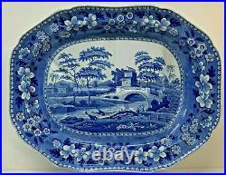 Antique Copeland Spode Blue White X Large Meat Platter Tree & Gravy Well SPODE 1