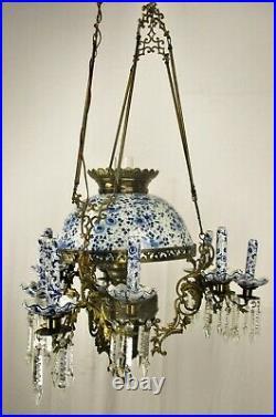 Antique Delft Blue White Porcelain Brass Chandelier Dutch 1 Light Exquisite
