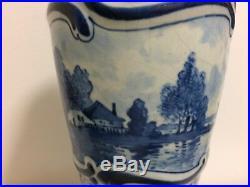 Antique Dutch Blue & White Delft Porcelain Vase Signed