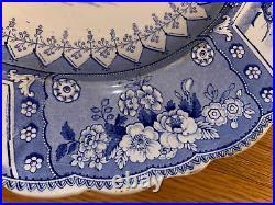 Antique English Blue Transferware Platter Canova T. G. Mayer Longport 16 X 13