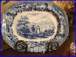 Antique English Blue & White Transferware Pottery Platter C1820 Rural Scenery