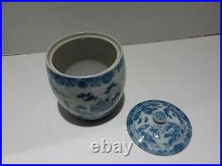 Antique Export Chinese Tea Caddy Ginger Jar Blue White Hand Painted Porcelain