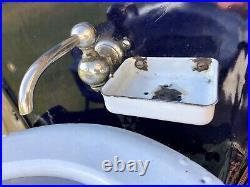Antique Folding Railroad Train Car Sink, Porcelain Enamel, Adams & Westlake Blue
