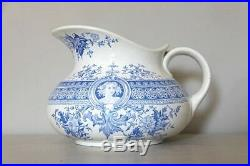 Antique French Porcelain Pitcher, Blue and White Transferware Jug, 1800s