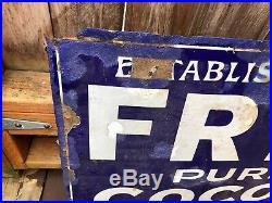 Antique Frys Cocoa Porcelain Enamel 30 Blue White Sign, As Found