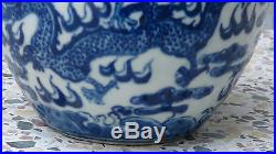 Antique Ging Chinese Blue& White Porcelain Brush Pot, Bowl, Two Dragons Fighting