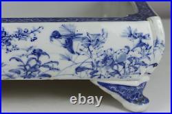 Antique Japanese 19th Century Meiji Period Blue & White Bonsai Iris Planter Larg