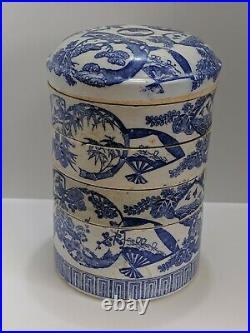 Antique Japanese Blue And White Porcelain Juboko/Jubako Bento Lunch Box