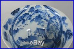 Antique Japanese Haisen Sake Cup Washer Blue White Porcelain Dragon Landscape