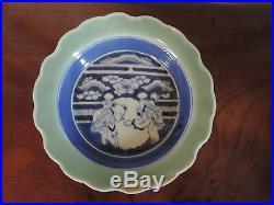 Antique Japanese Porcelain Bowl Celadon Blue & White Chinese Taste 19th c. Arita