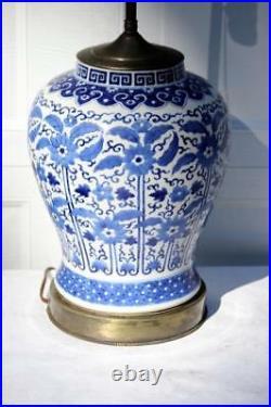 Antique Kangxi Chinese Lamp Blue White Porcelain Jar Vase