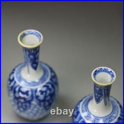 Antique Pair of miniature Chinese blue and white bottle vases, Kangxi 1662-1722