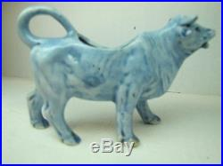 Antique Porcelain Cow Creamer Blue & White Delft ship small ornate detailing