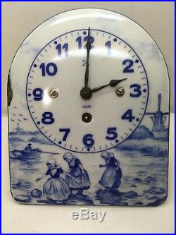 Antique Porcelain Enamel Delft Style Wall Clock 8 Day Germany Blue & White