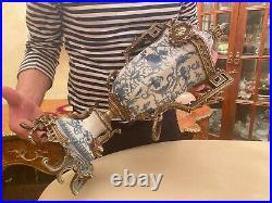 Antique RARE Porcelain Brass Crackle Vase Urn with Lid Handpainted White Blue